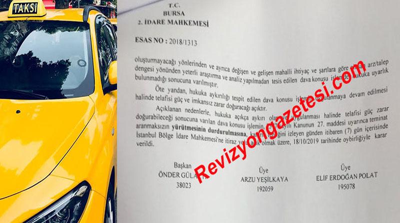 Teşvikiye'de taksi plaka ihalesine yürütmeyi durdurma kararı!