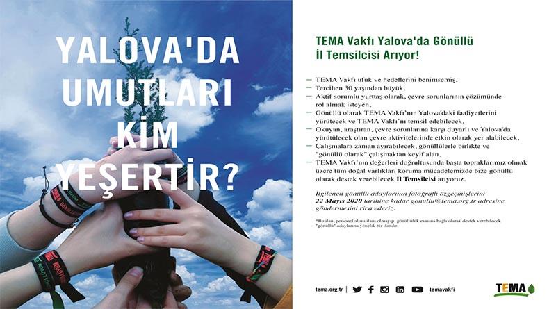 TEMA Vakfı Yalova'da Gönüllü İl Temsilcisi Arıyor