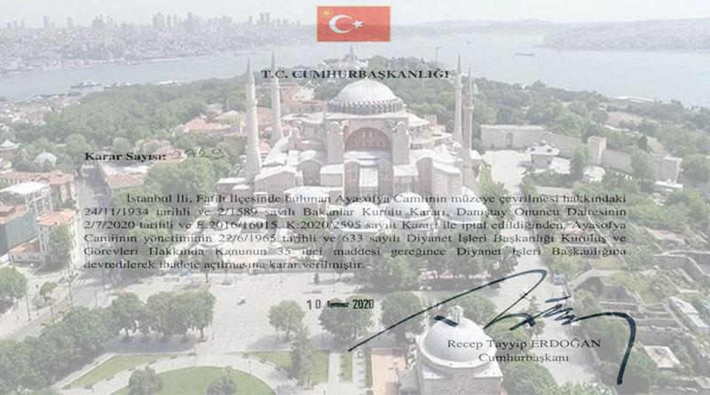 Erdoğan: Ayasofya ibadete açıldı