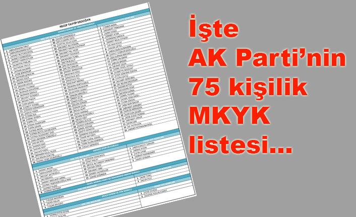 AK Parti'nin 75 kişilik MKYK listesi belli oldu
