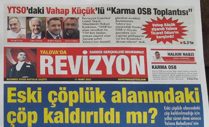 Revizyon Gazetesi, Karma OSB ve Eski Çöplük Alanı konusunu manşetine taşıdı!